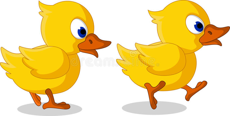 Cute two baby duck cartoon walking vector illustration