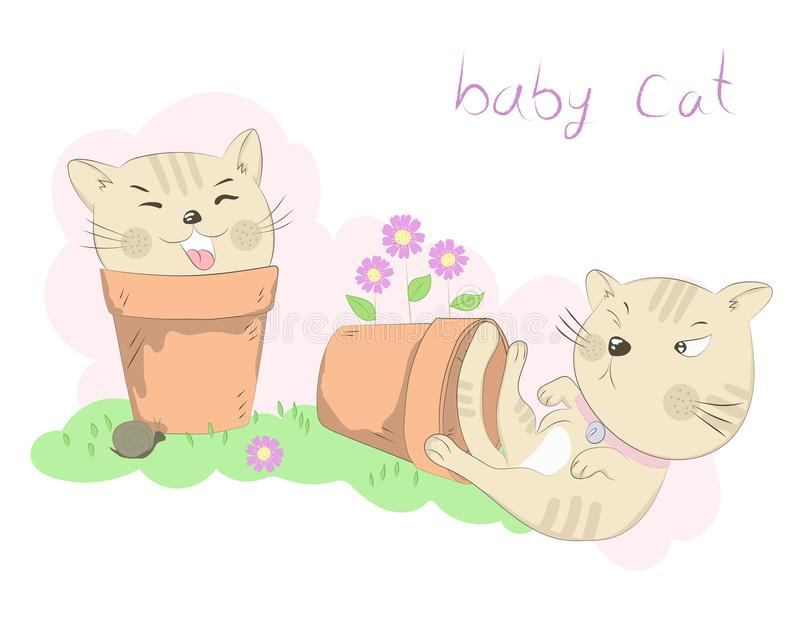 Cute two little cats cartoon misbehave with flower pot. Hand drawn style.  royalty free illustration