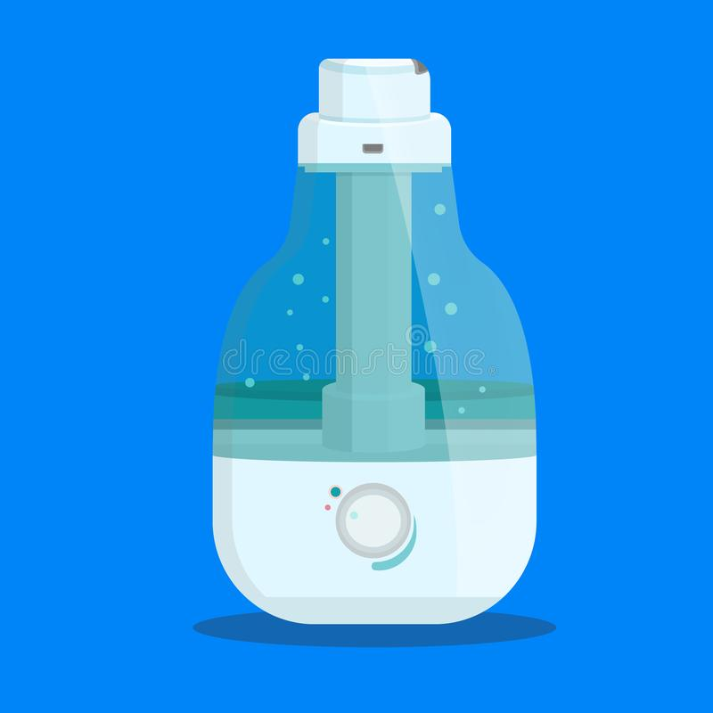 Equipment, domestic, air purifier, vaporizer. Cute ultrasonic humidifier for room, home, flat, office.Modern flat style vector illustration icons. Isolated on stock illustration