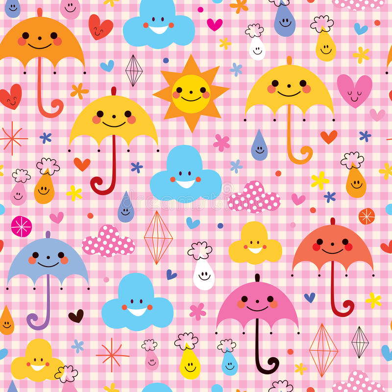 Cute umbrellas raindrops flowers clouds characters seamless pattern vector illustration