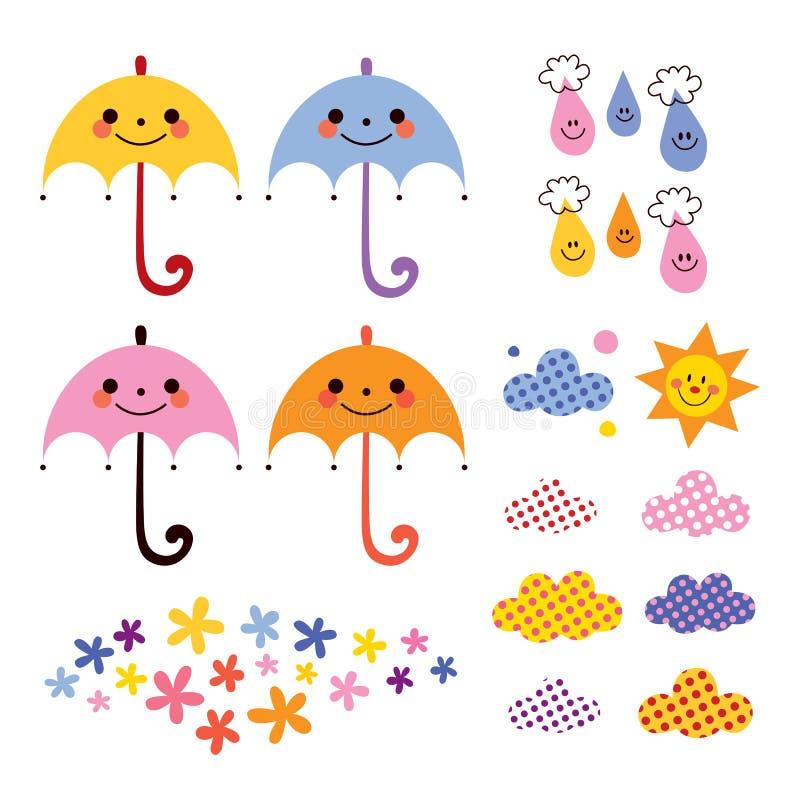 Cute umbrellas raindrops flowers clouds design elements set vector illustration