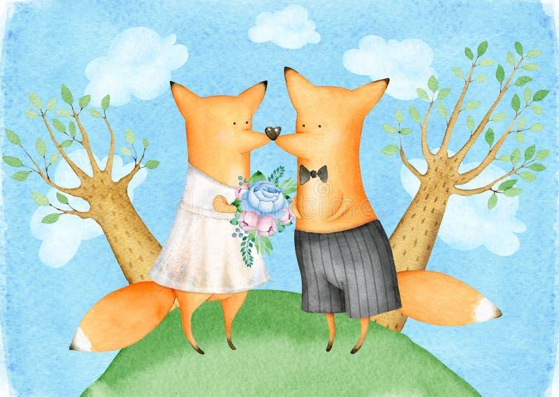 Cute und Funny Watercolor Foxes Illustration Hochzeit Grußkarte stock abbildung