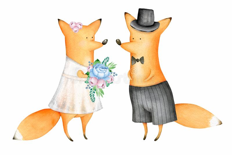 Cute und Funny Watercolor Foxes Tiere Hochzeit vektor abbildung