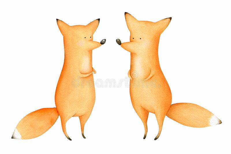 Cute und Funny Watercolor Foxes Waldtier Illustration vektor abbildung