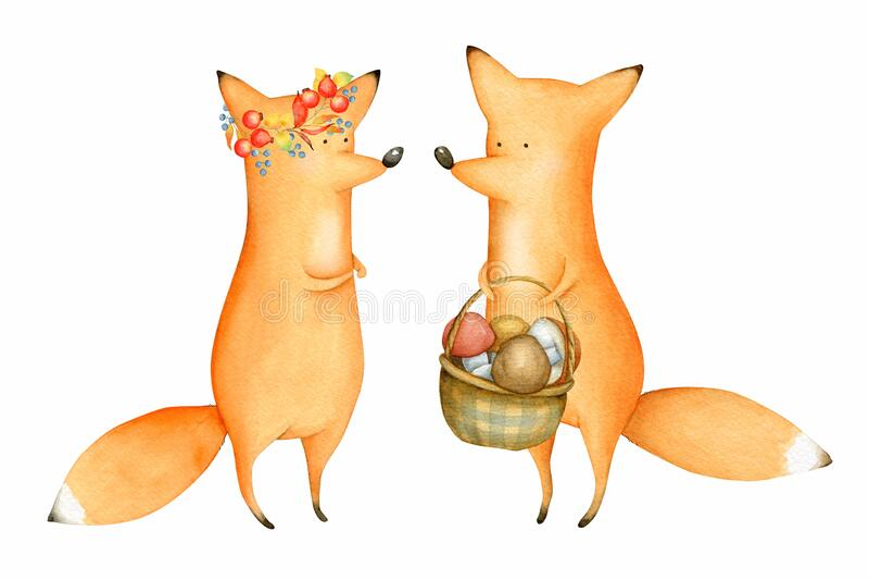 Cute und Funny Watercolor Foxes Waldtier Illustration Herbst lizenzfreie abbildung