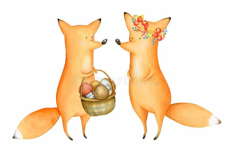 Cute und Funny Watercolor Foxes Waldtier im Herbst vektor abbildung