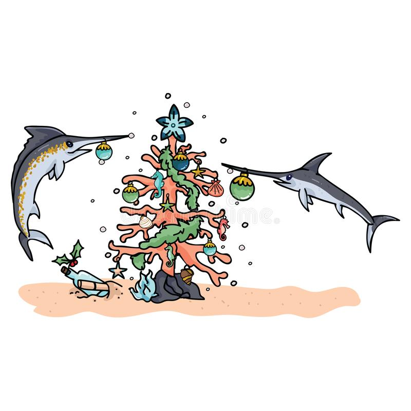 Cute underwater christmas tree with swordfish cartoon vector illustration motif set. Hand drawn isolated seahorse xmas royalty free illustration
