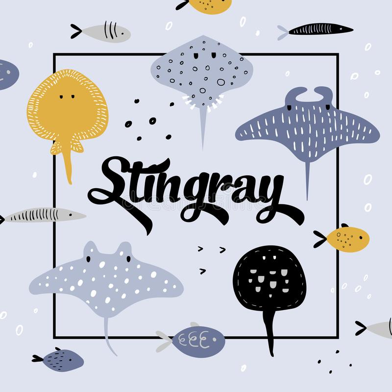 Cute Underwater Creatures Design. Creative Childish Background with Fish and Stingray for Cover, Decoration royalty free illustration