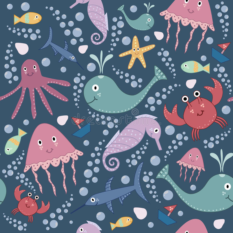 Cute underwater seamless pattern. royalty free illustration