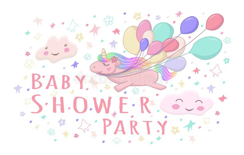 Cute unicorn with air ballons and clouds for baby shower party invitation. Doodle card. Fantasy colorful card stock illustration