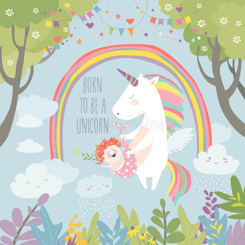 Cute unicorn with baby vector illustration