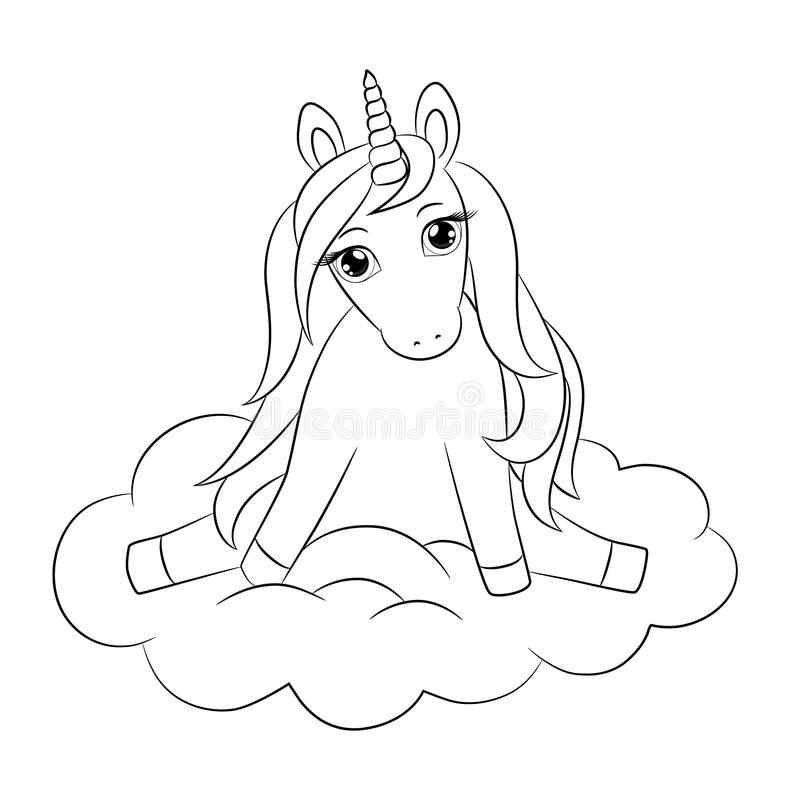 Cute unicorn baby, sitting on cloud, outline drawing. stock illustration