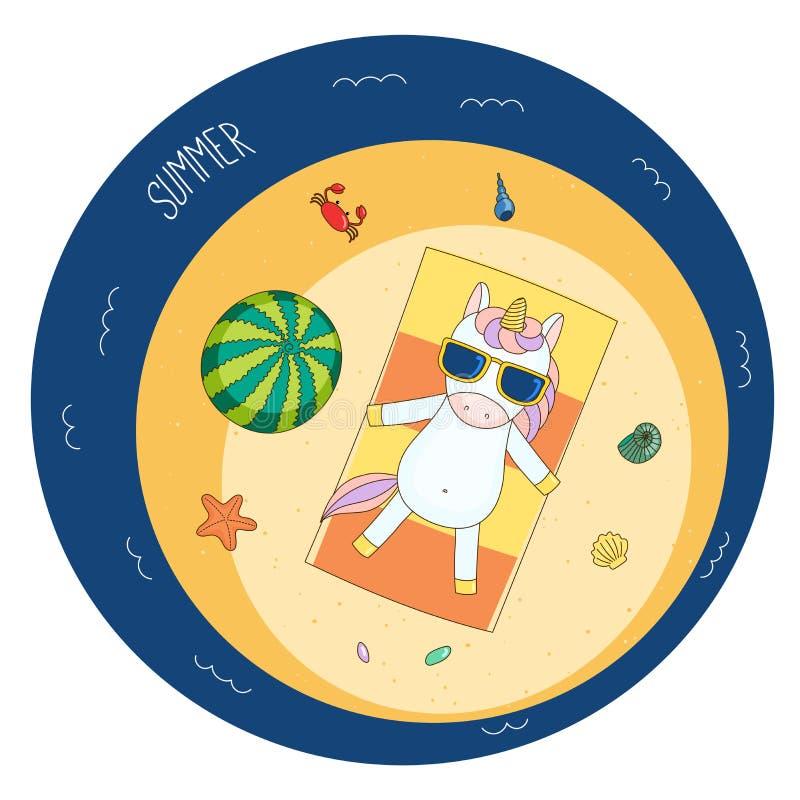 Cute unicorn on the beach vector illustration