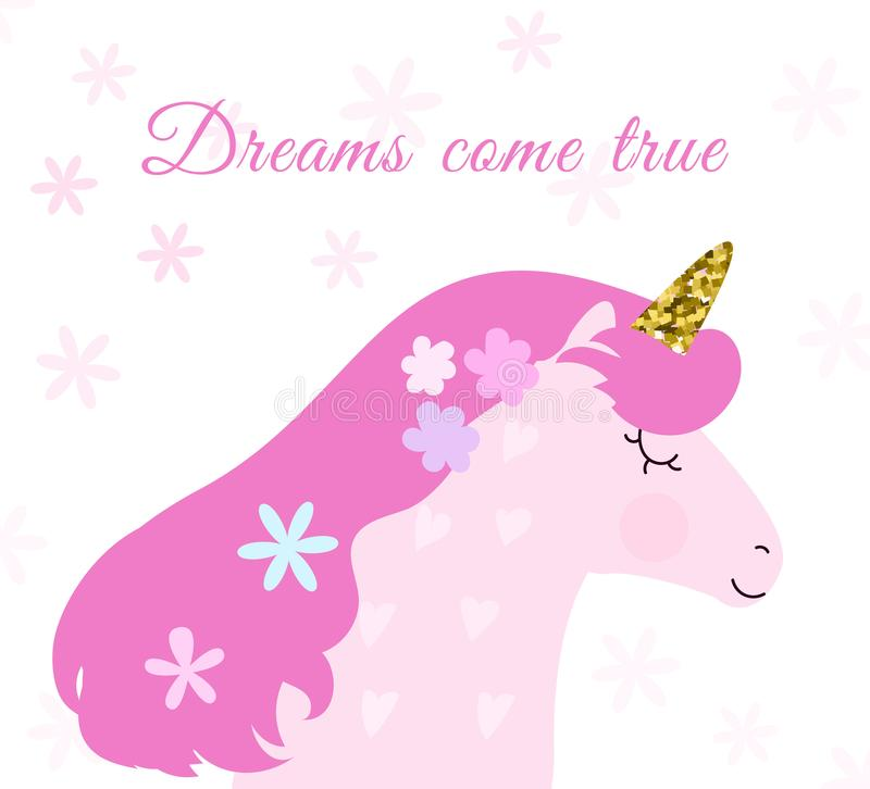 Cute unicorn card and t-shirt design. Lovely pastel colours. stock illustration