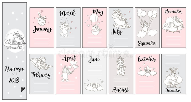 Cute unicorn cards, for baby shower,cards, birthday, in vector. Girly design for t-shirts, cards, baby shower, birthday, pillows, mugs and fashion items royalty free illustration