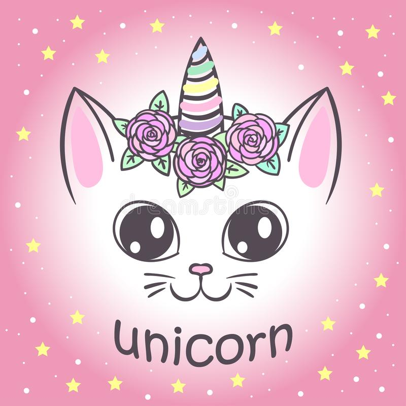Cute unicorn cat vector illustration