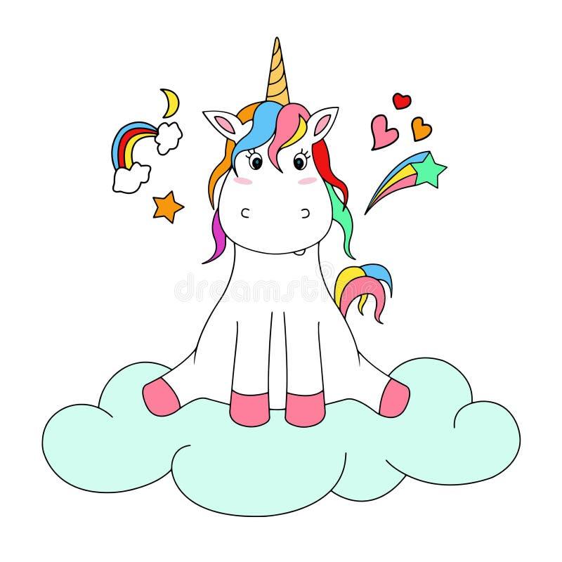 Cute Unicorn with cloud. stock illustration