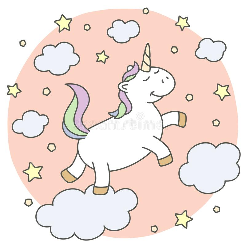 Cute unicorn on the clouds stock photo