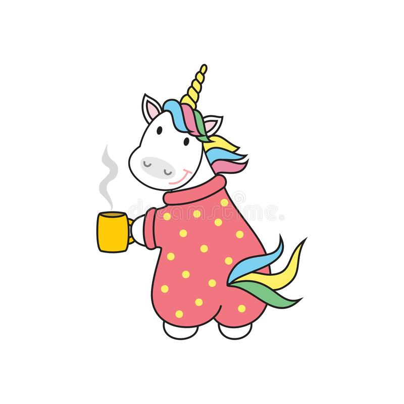 Cute unicorn with cup of tea, vector illustration,cartoon design. Children`s print on a t-shirt, greeting card vector illustration