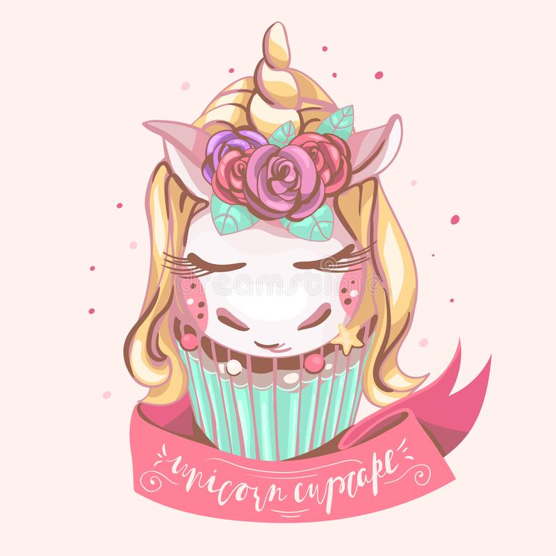 Cute unicorn cupcake. Beautiful, magic background with dreaming unicorn with golden horn, roses flowers, mint color cake, pink r royalty free illustration