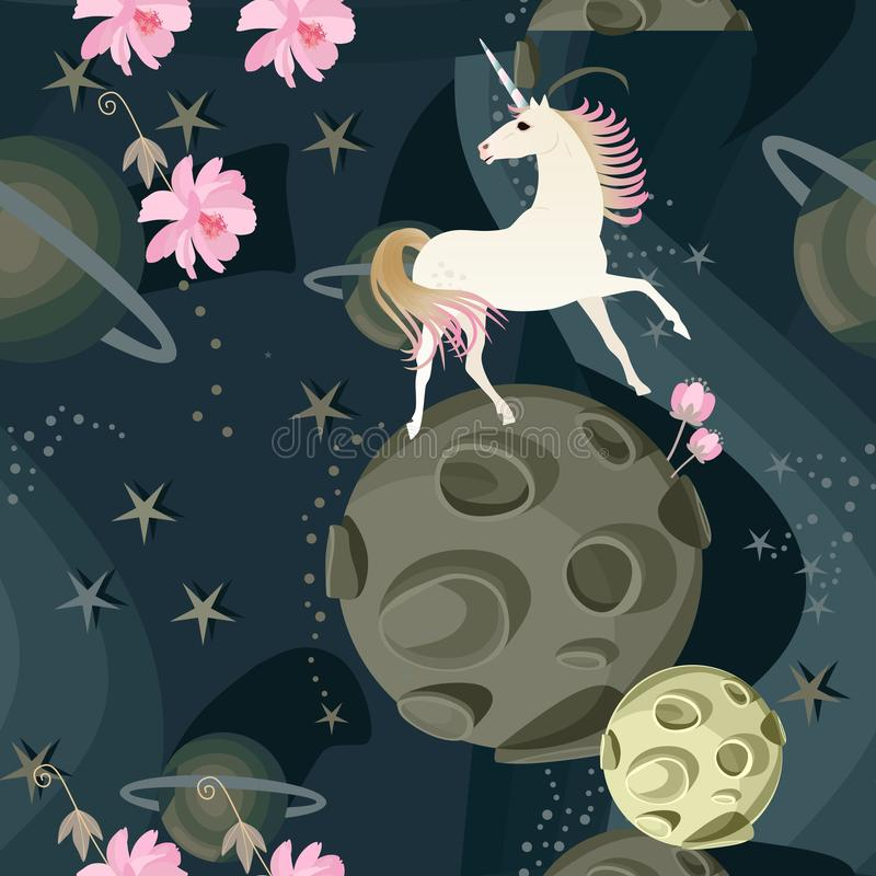 Cute unicorn and delicate pink flowers against a background of space with planets and stars in a vector. Seamless pattern. stock illustration