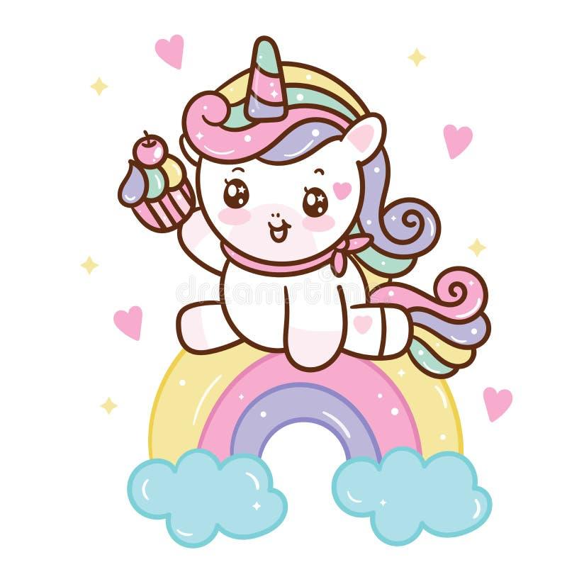 Cute Unicorn-Doodle-Pony-Kindercartoon mit Wolkenschwingenschwingenschwung Fairytale tierische Kindermädchen, Pferdecharakter stock abbildung
