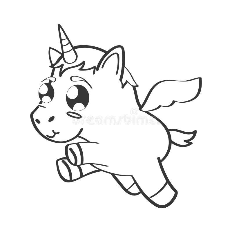 cute unicorn drawn icon stock vector illustration of
