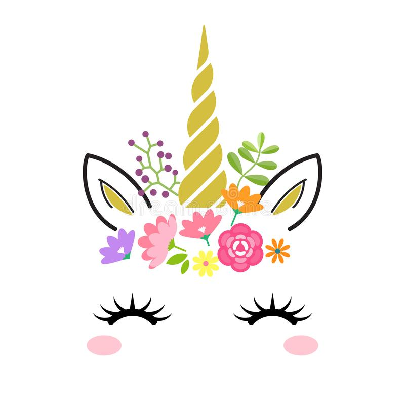 Cute unicorn face with gold horn and flowers isolated on white background. Vector cartoon character illustration. stock illustration