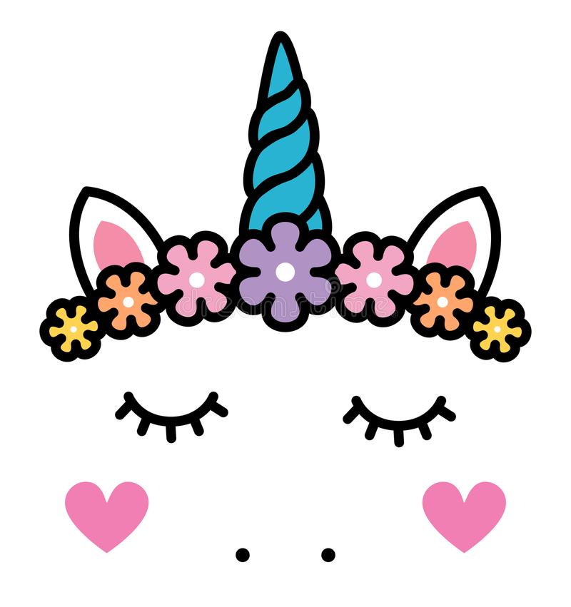 Cute unicorn face with pastel rainbow flowers isolated. Vector stock illustration
