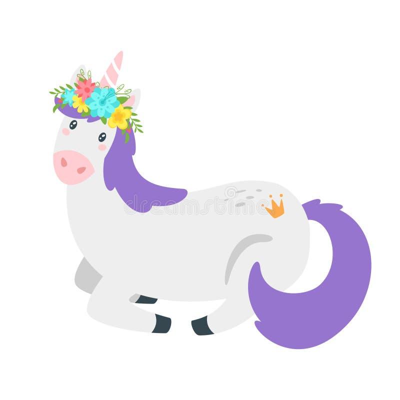 Cute unicorn. Fairytale animal vector illustration