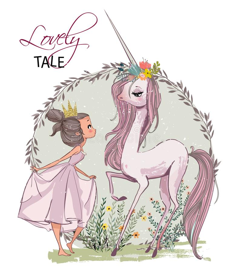 Cute unicorn with girl. Cute cartoon unicorn with with girl and hare royalty free illustration