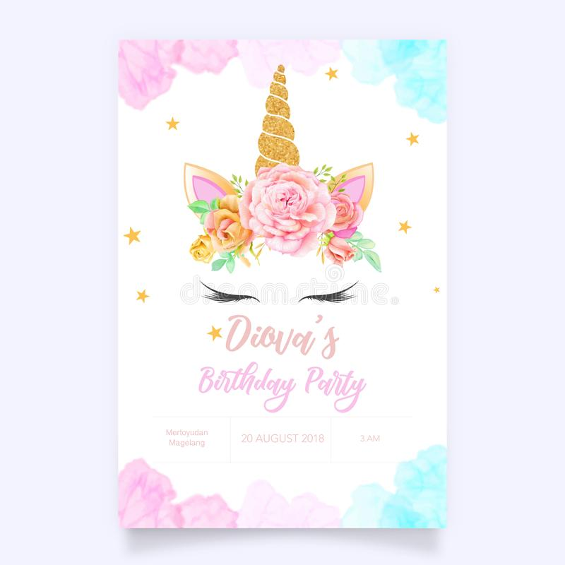 Cute unicorn graphic with flower wreath stock illustration