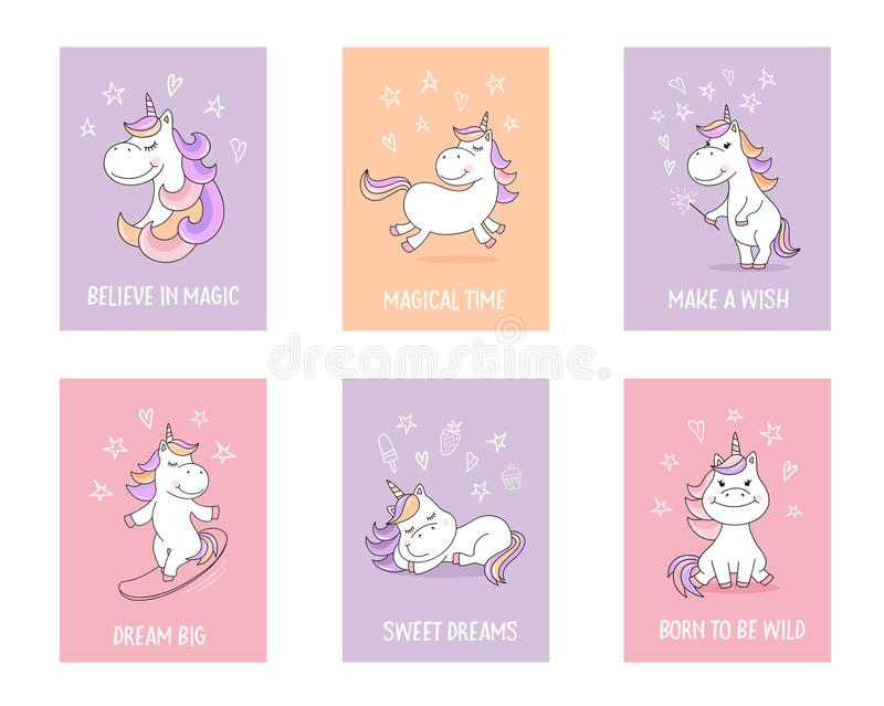 Cute unicorn greeting cards with quotes and magical symbols royalty free illustration