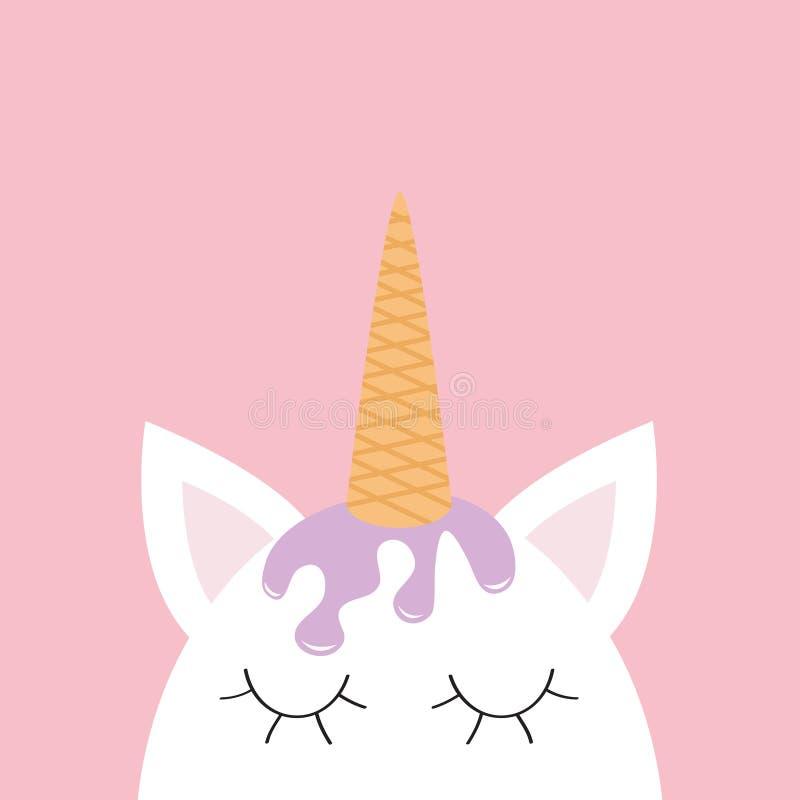 Cute Unicorn Head Face. Ice Cream Hair. Wafer Cone Horn. Flat Lay ...