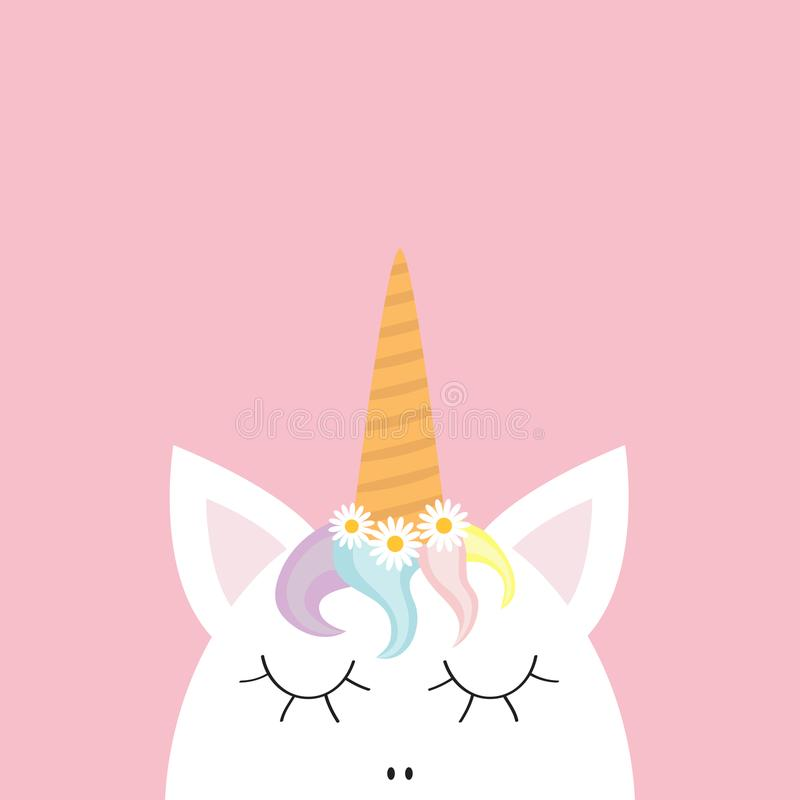 Cute unicorn head face. Rainbow hair, white daisy chamomile flower set. Flat lay design. Pastel color. Cute cartoon kawaii baby ch. Aracter. Funny horse royalty free illustration