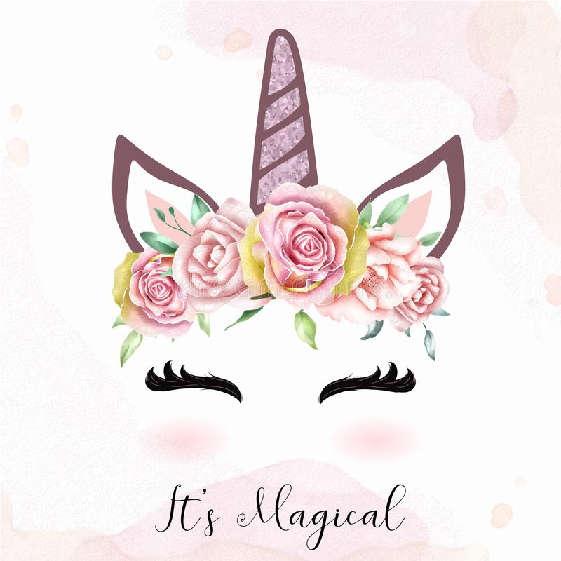 Cute unicorn head with watercolor floral crown stock illustration