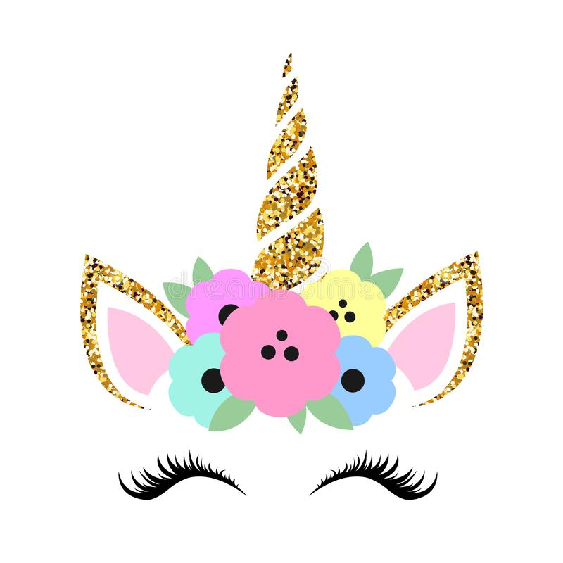 Cute unicorn illustration with glitter and flowers stock illustration