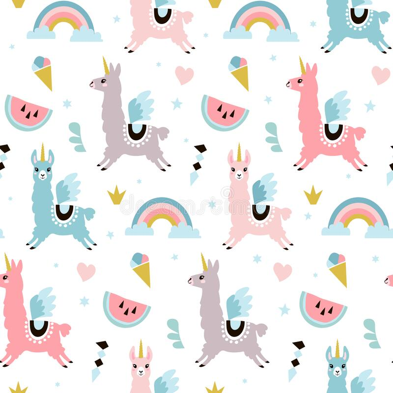 Free Cute Unicorn Llama Alpacaseamless Pattern. Vector Illustration Stock Image - 189456641