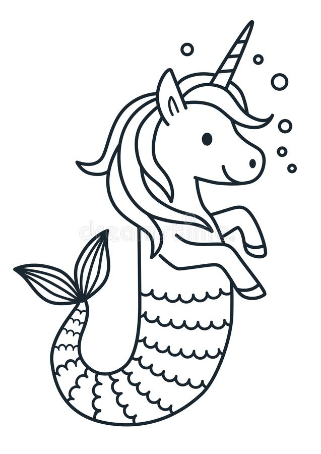 Cute Unicorn Mermaid Coloring Page Cartoon Illustration ...