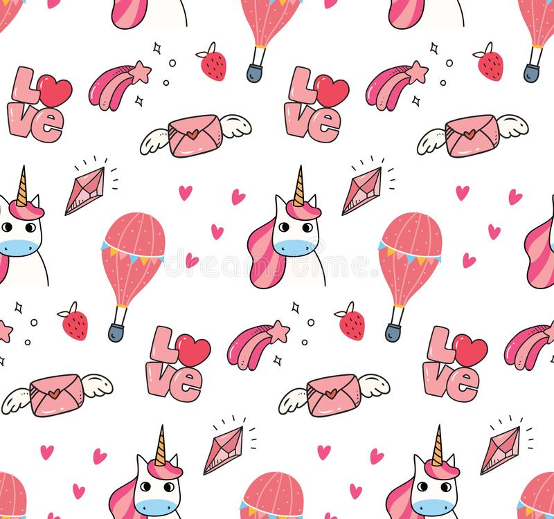 Cute unicorn and other object seamless pattern royalty free illustration