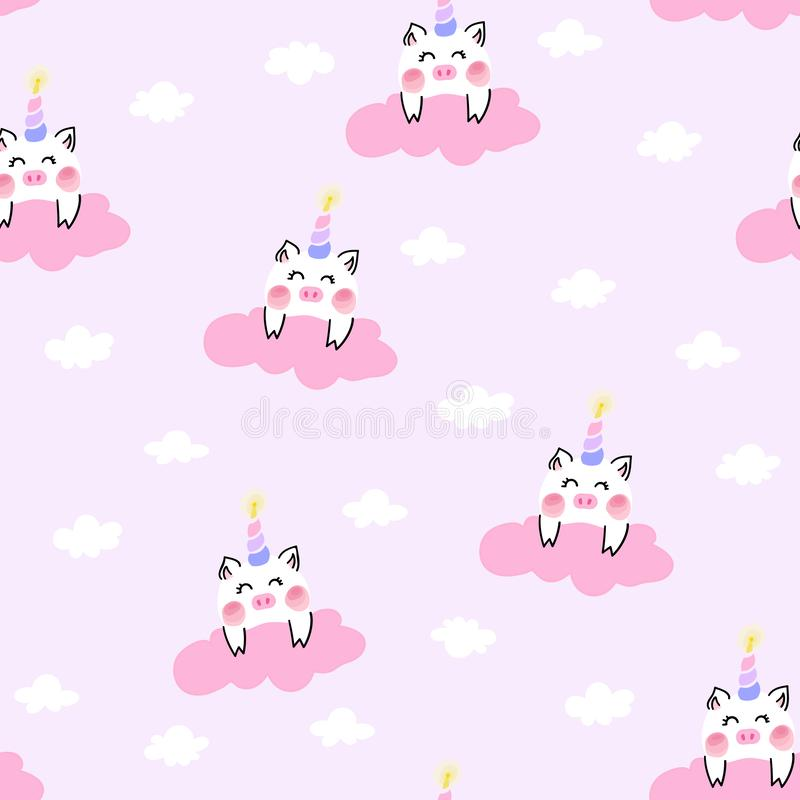 Cute unicorn pig in the pink cloud. royalty free illustration