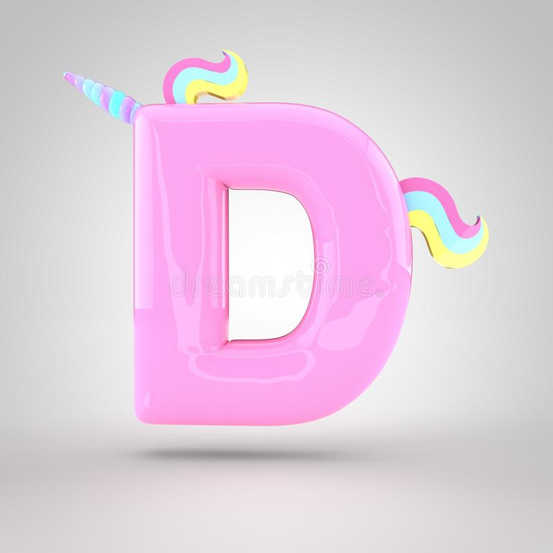 Download Cute Unicorn Pink Letter D Uppercase Stock Illustration