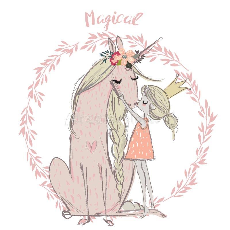 Cute unicorn with princess royalty free illustration