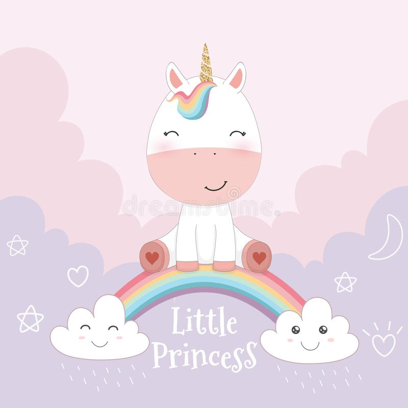 Cute unicorn and rainbow on pink sky background stock photography