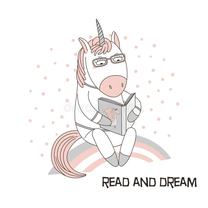 Cute unicorn reading a book. Hand drawn vector illustration of a cute funny cartoon unicorn sitting on a rainbow, reading a book with a dragon on the cover, text royalty free illustration