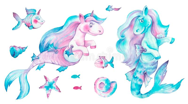 A cute unicorn is relaxing with coctail on the blue waves of see. stock illustration