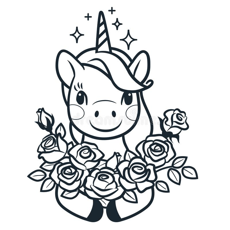unicorn with roses simple vector coloring