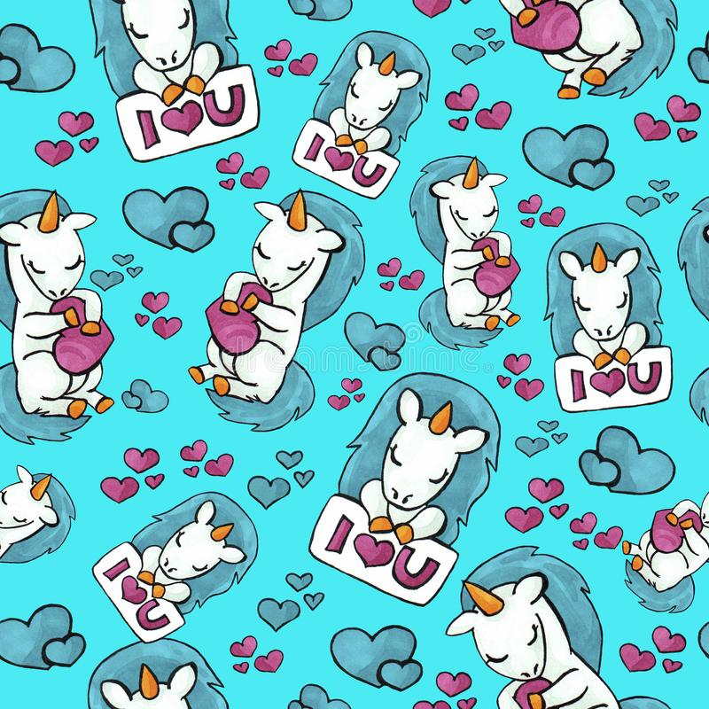 Cute unicorn seamless pattern. colorful objects repeating background for web and print purpose. stock photo