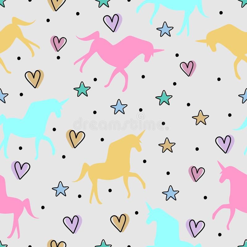 Cute unicorn seamless pattern vector illustration with childish drawing for cute baby fashion textile print stock illustration