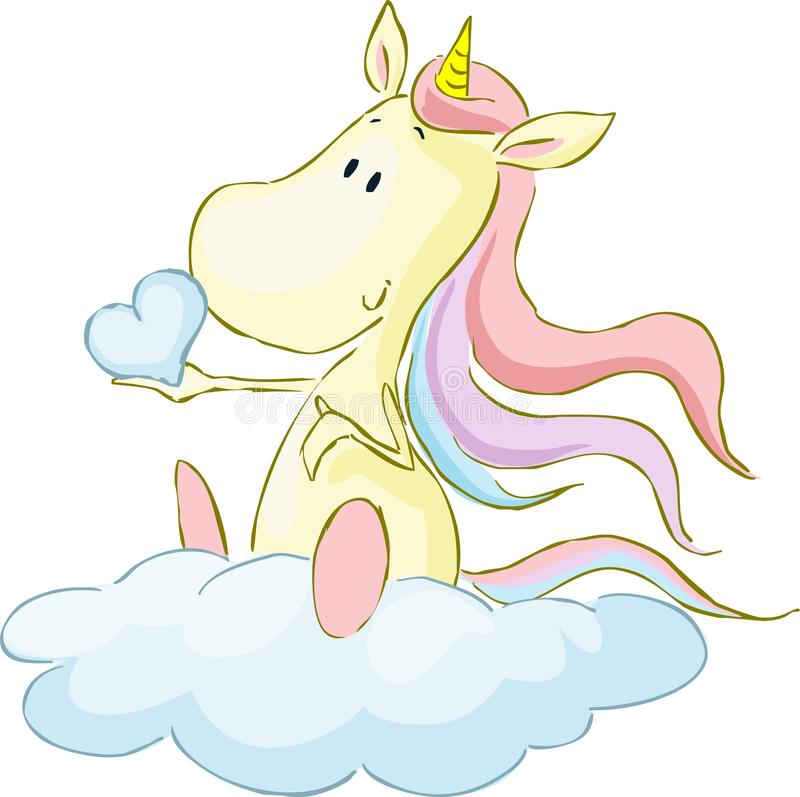 Cute Unicorn Sitting on Cloud, Holding Heart from Glouds - Vector Illustration stock illustration